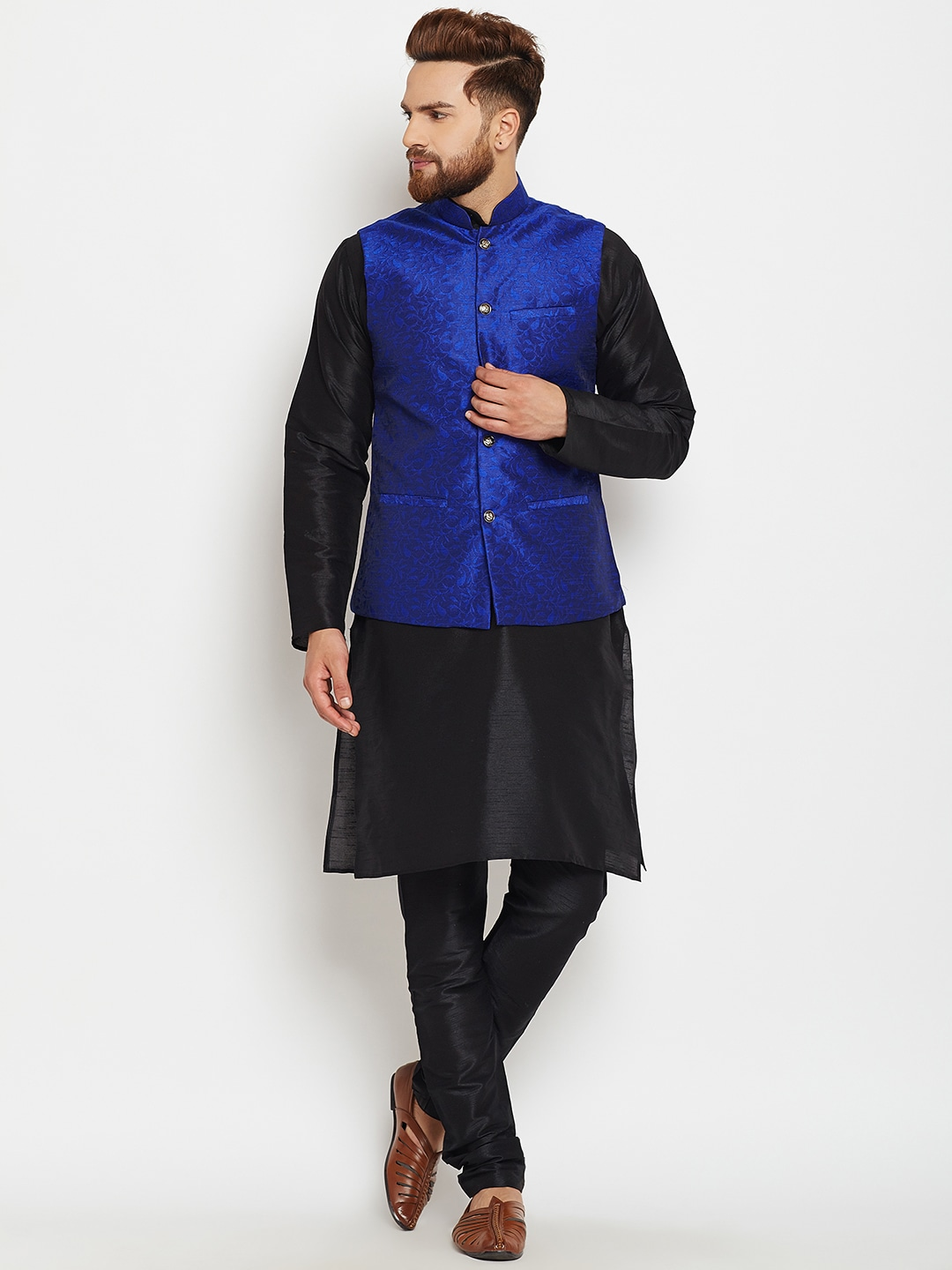 SOJANYA Men Black & Blue Self Design Kurta Pyjamas with Waistcoat image