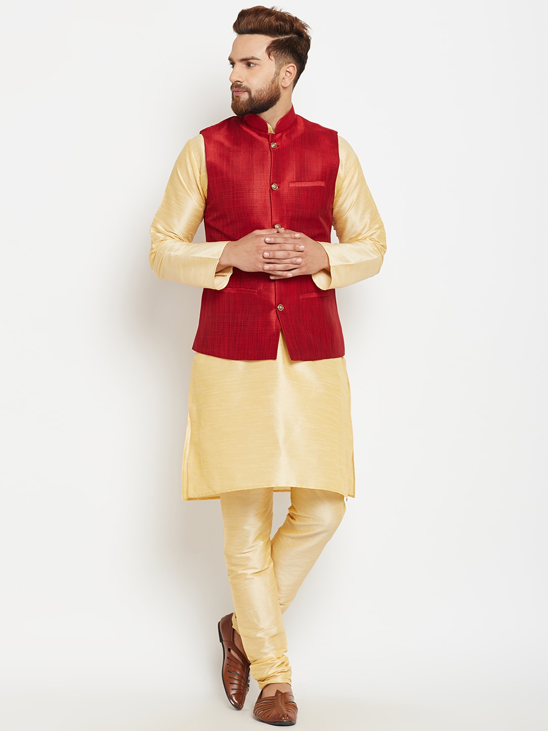 SOJANYA Men Gold-Toned & Maroon Self Design Kurta with Pyjamas and Nehru Jacket image