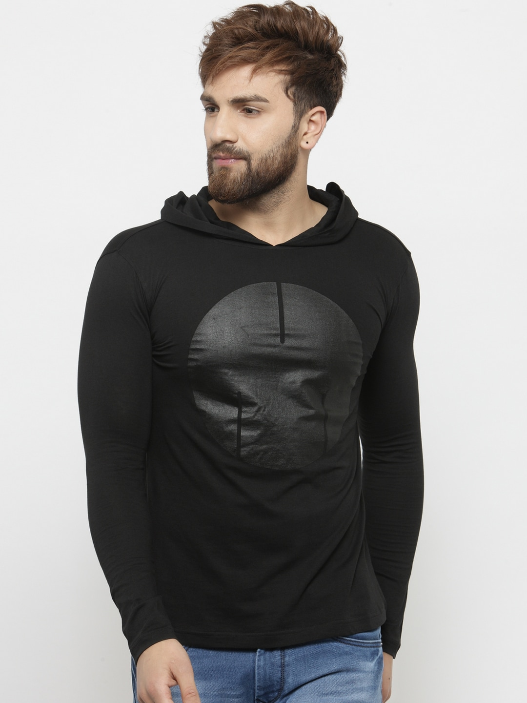 Buy GESPO Black Printed Hood Men's T-shirt At Best Price