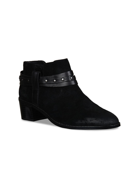 Clarks Women Black Suede Mid Top Heeled Boots image