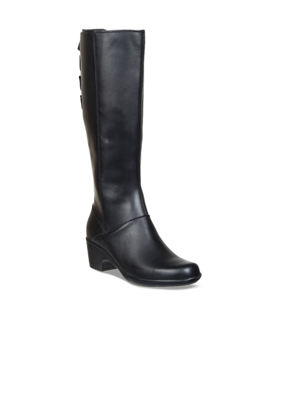 Clarks Women Black Leather High Top Heeled Boots image