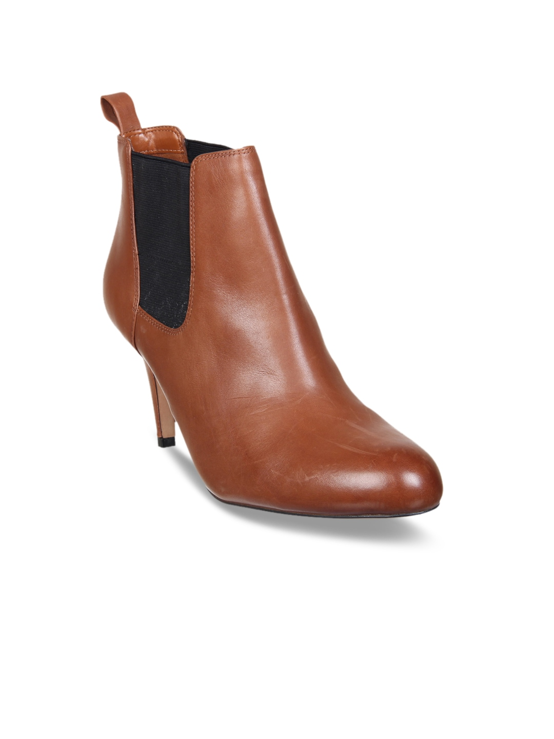 Clarks Women Tan Leather Mid Top Heeled Boots image