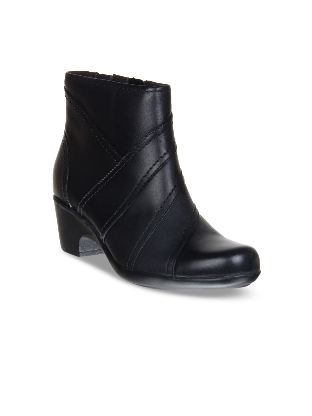Clarks Women Black Leather Mid Top Heeled Boots image