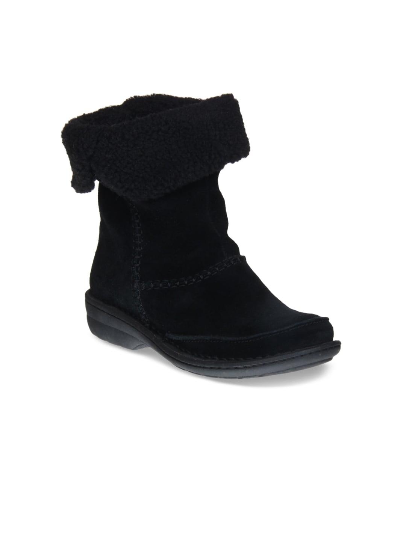 Clarks Women Black Suede Mid Top Boots image