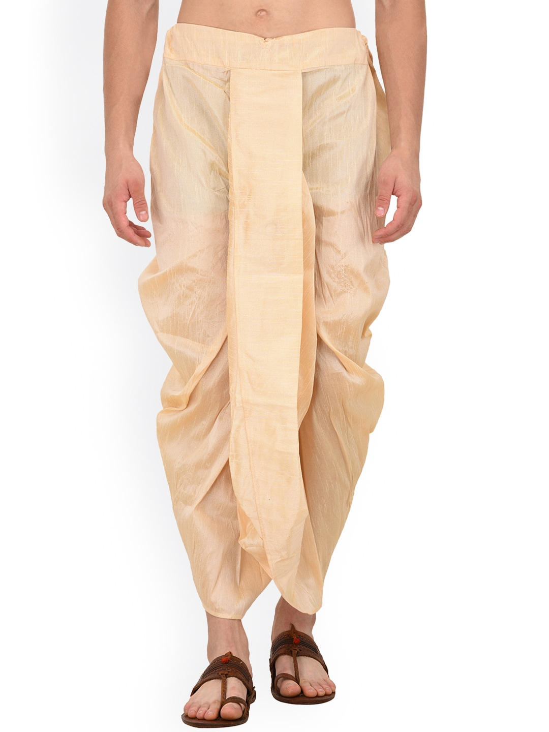 TAG 7 Men Gold-Toned Solid Dhoti image