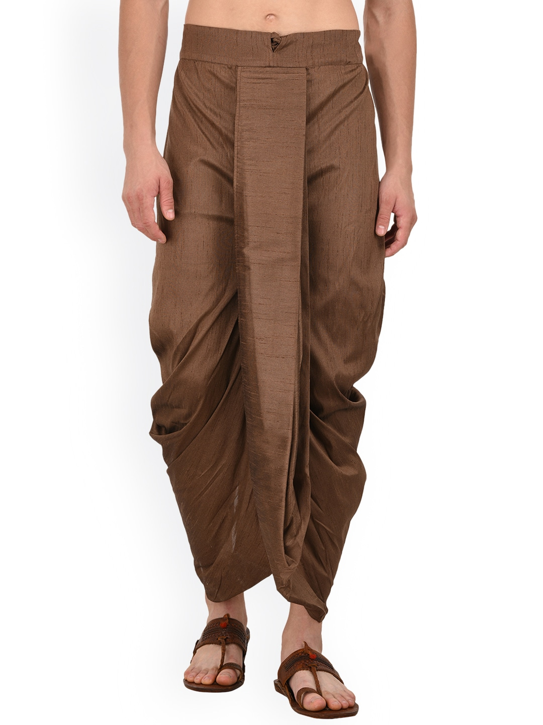 TAG 7 Men Coffee Brown Solid Dhoti image