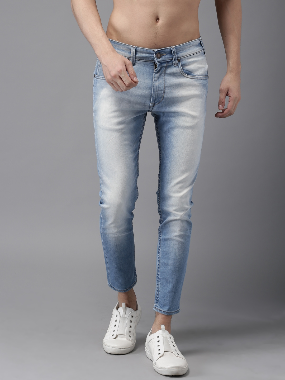 HERE&NOW Men Blue Skinny Fit  Ankle Length Stretchable Jeans
