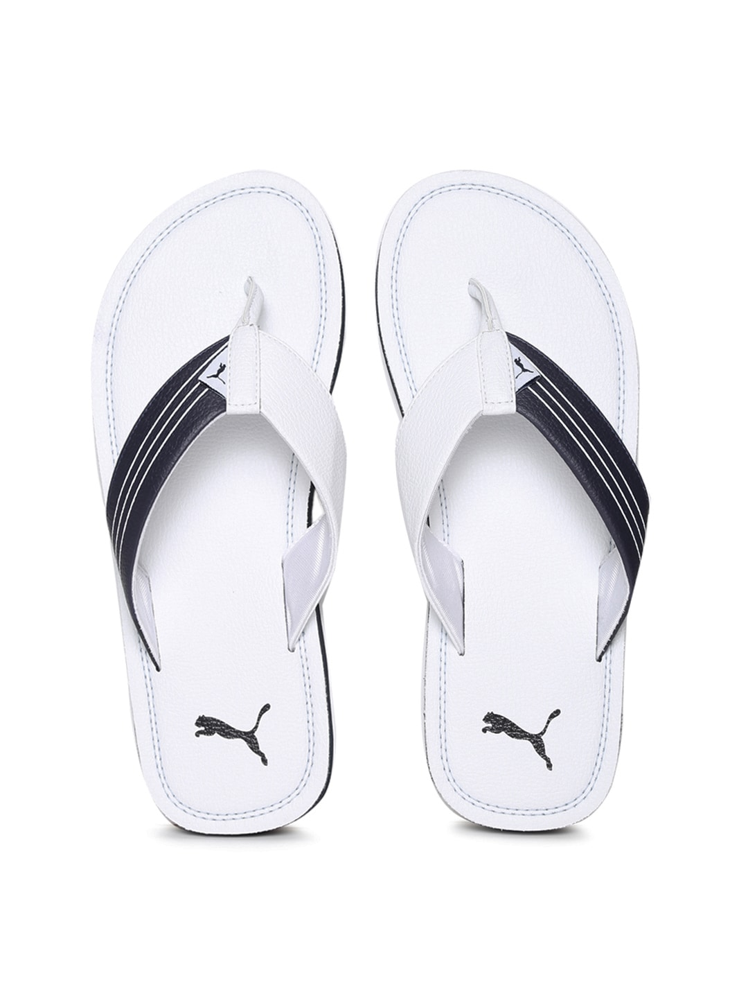 Puma Men White & Navy Blink Duo IDP Flip-Flops image