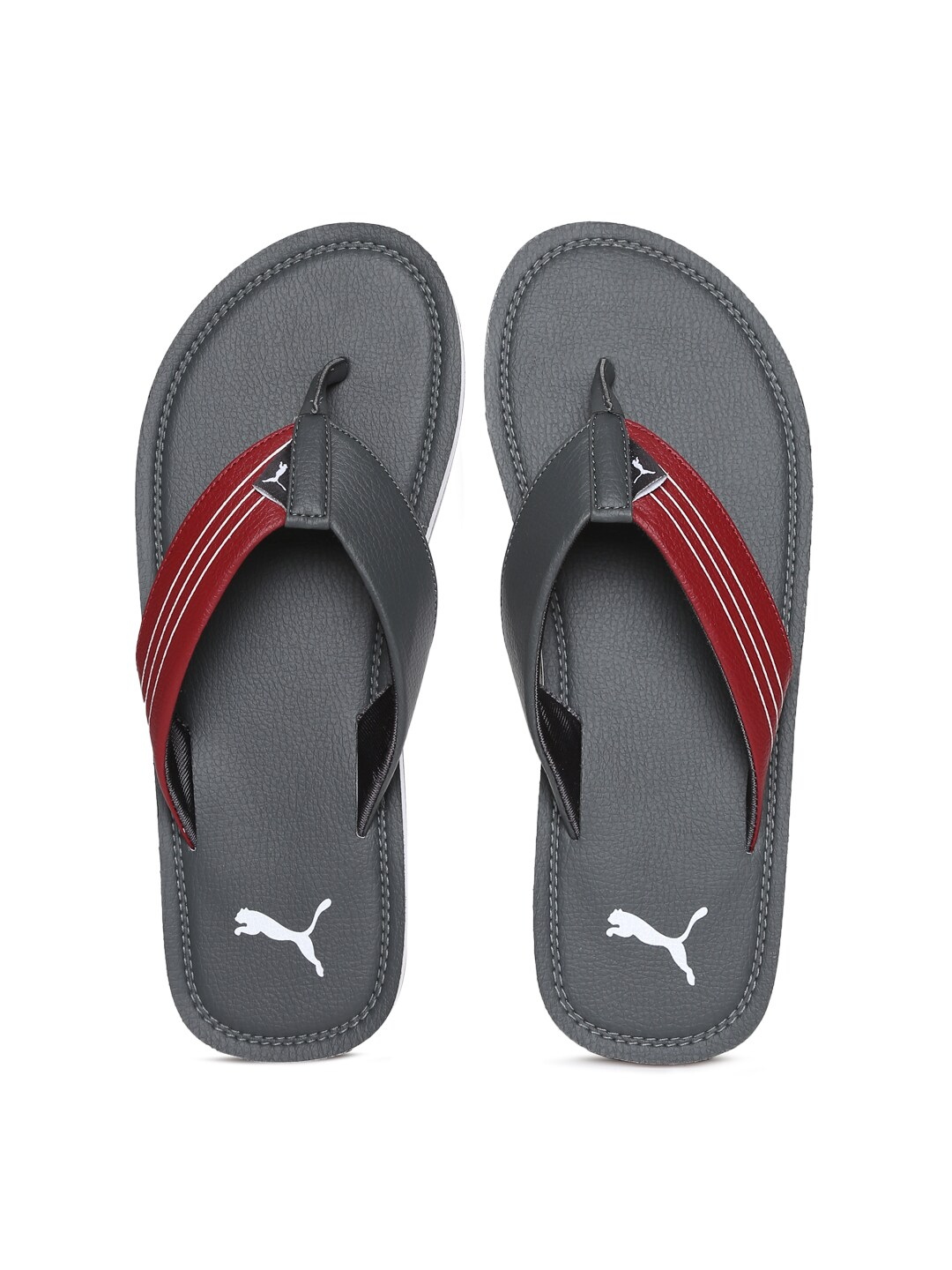 Puma Men Grey & Red Blink Duo IDP Flip-Flops image