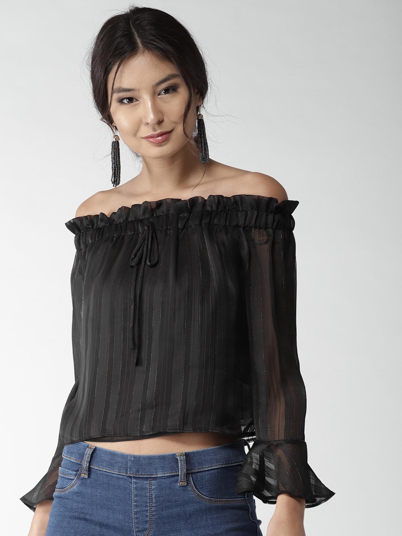 FOREVER 21 Women Black Striped Crop Bardot Top image