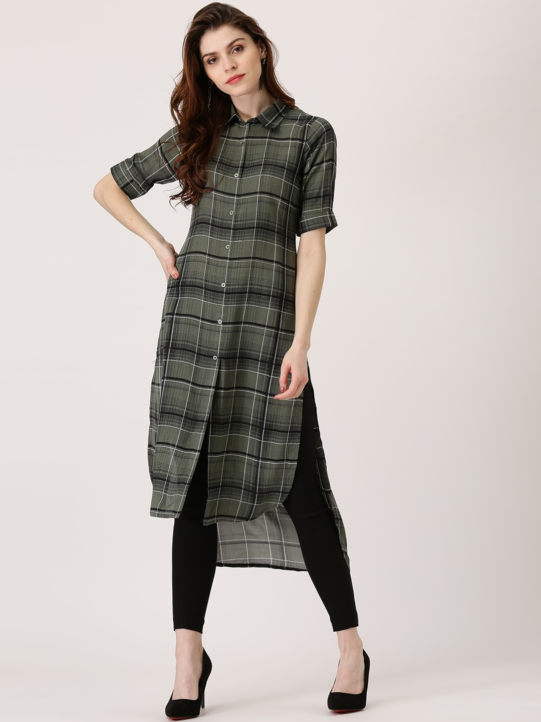 Try Libas Women Olive Green & Black Checked Pathani Kurta