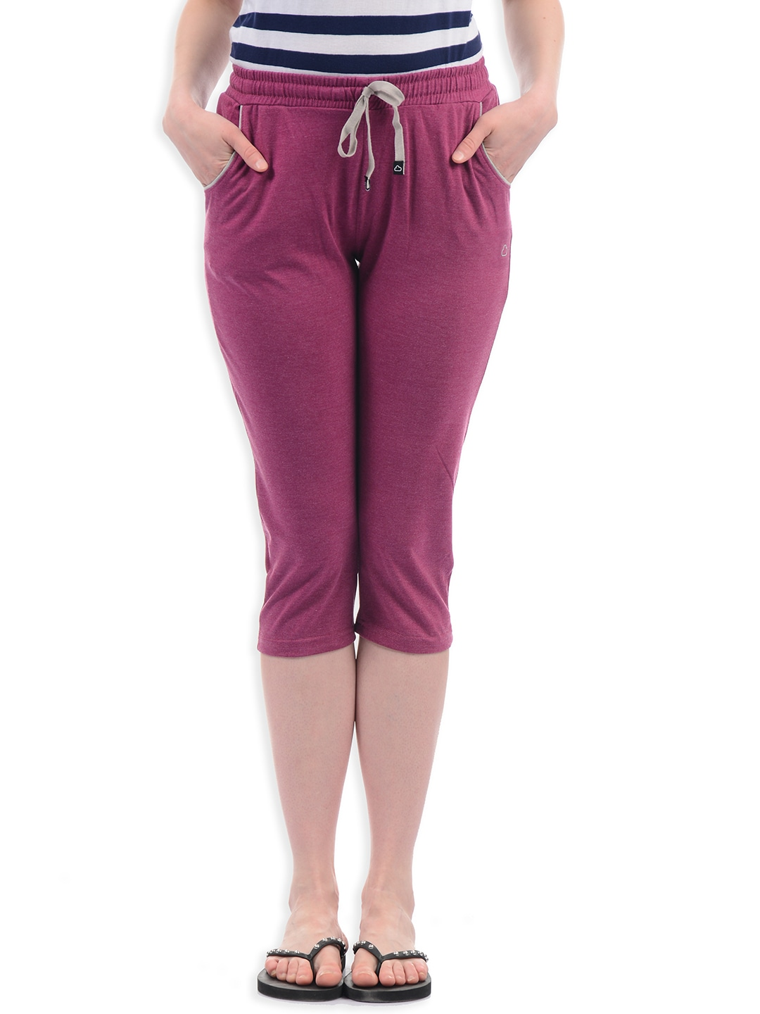 Sweet Dreams Women Pink Solid Lounge Capris LC-320218 image