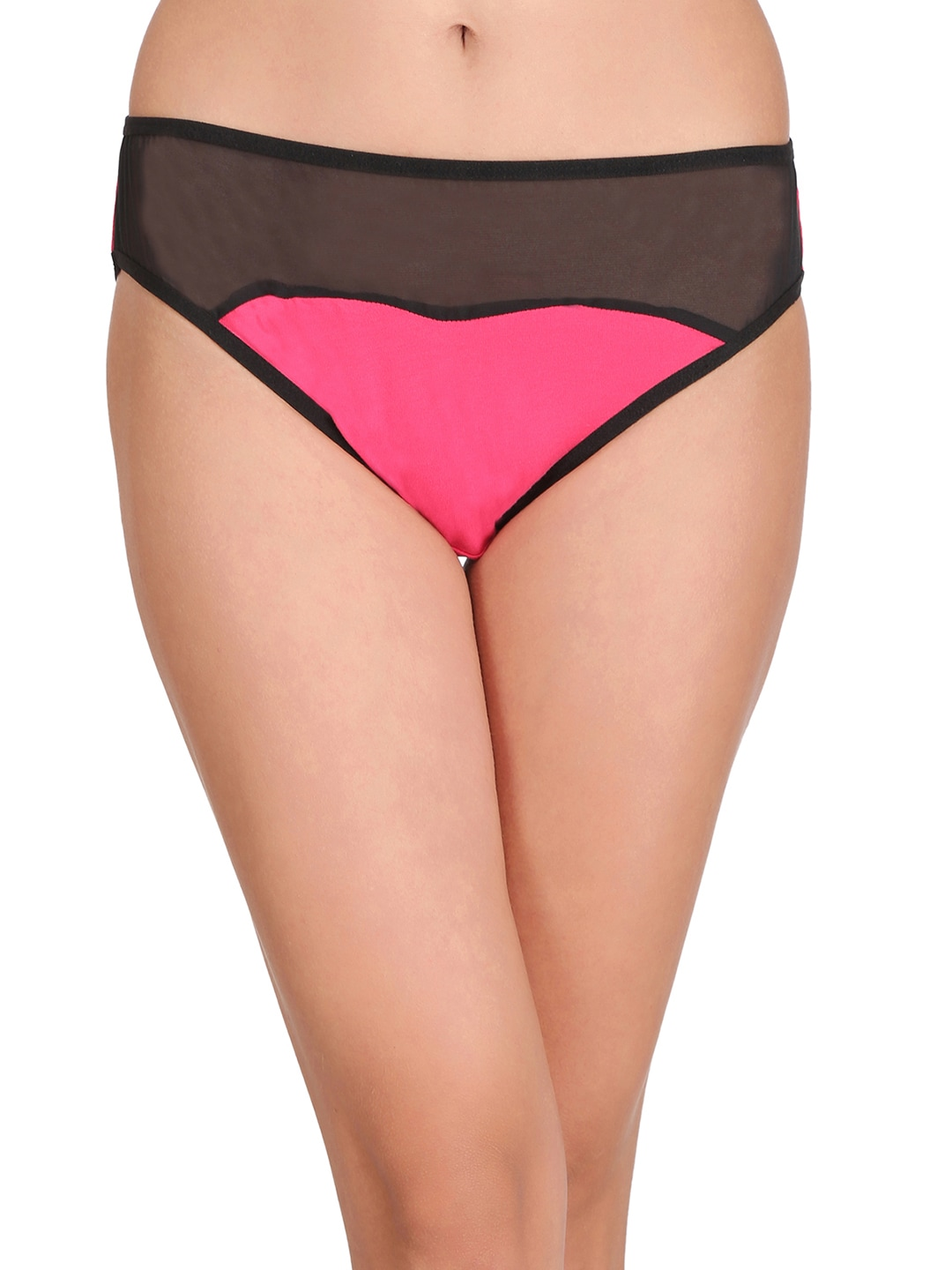 Clovia Women Pink And Black Bikini Briefs PN2016P14 image
