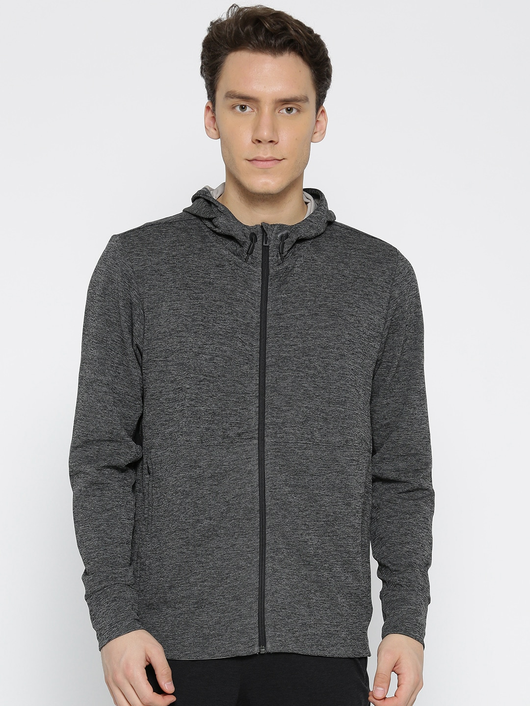 Buy Adidas WO FZ Climacool Charcoal Grey Solid Hooded Men's Sweatshirt At Best Price