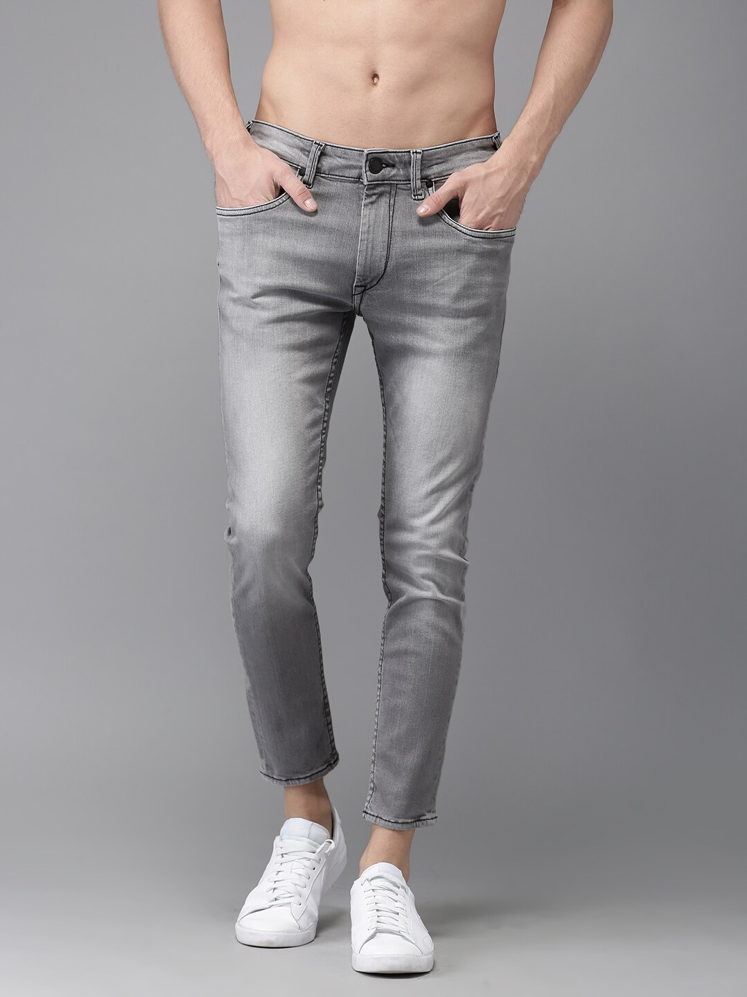 HERE&NOW Men Grey color Skinny Fit Mid-Rise Clean Look Stretchable Jeans