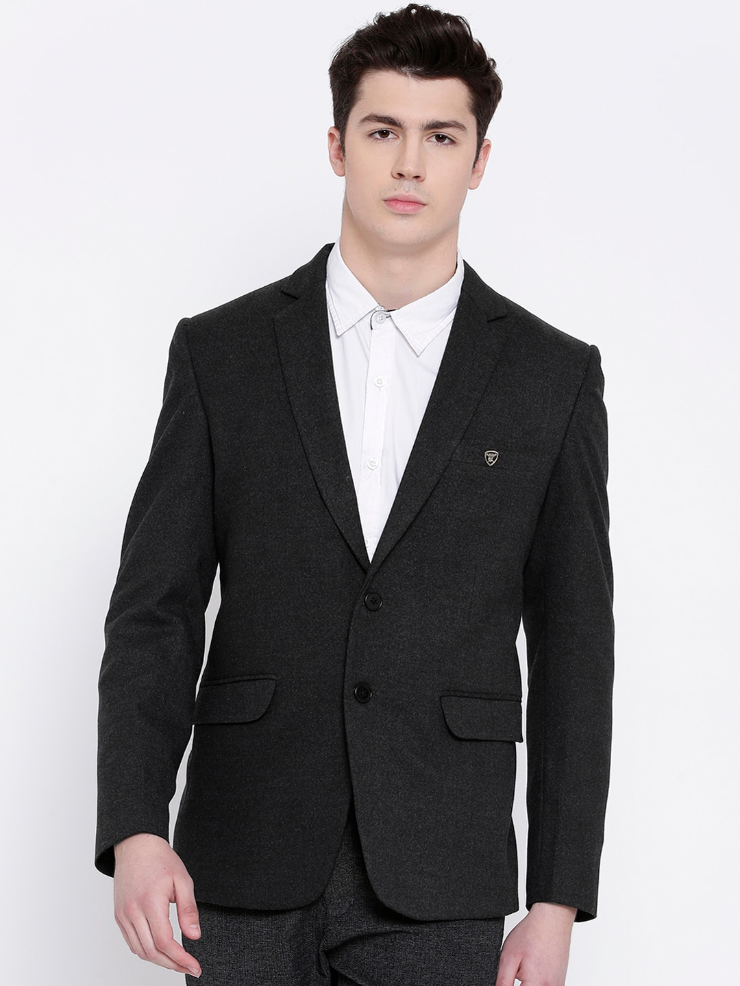 PLATINUM Studio Charcoal Grey Solid Single-Breasted Casual Blazer image