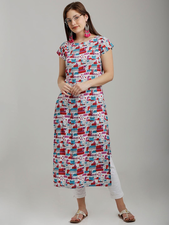 breya Women White & Red Printed Straight Kurta image