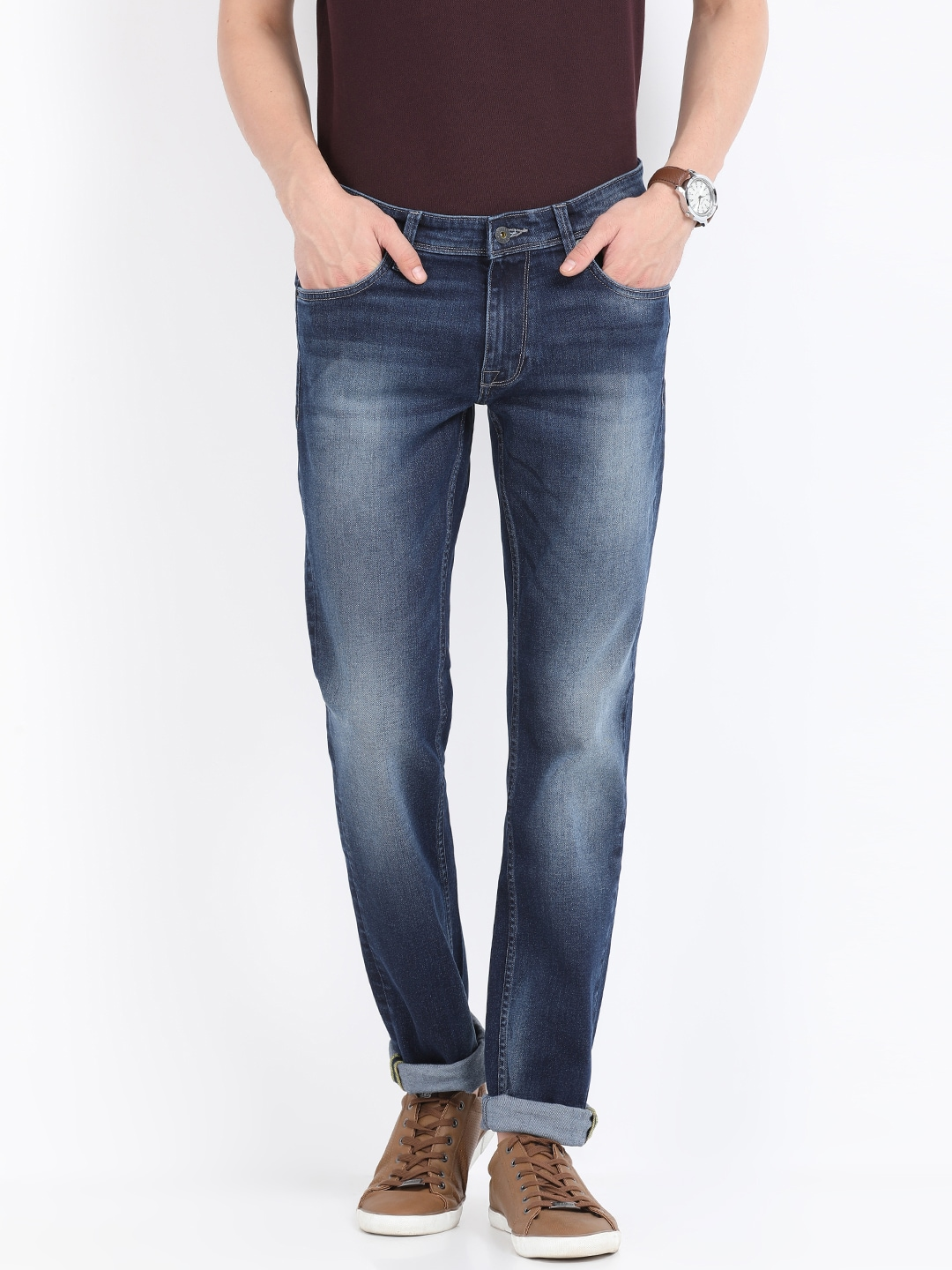 Indian Terrain Men Blue Slim Fit Low-Rise Clean Look Jeans image