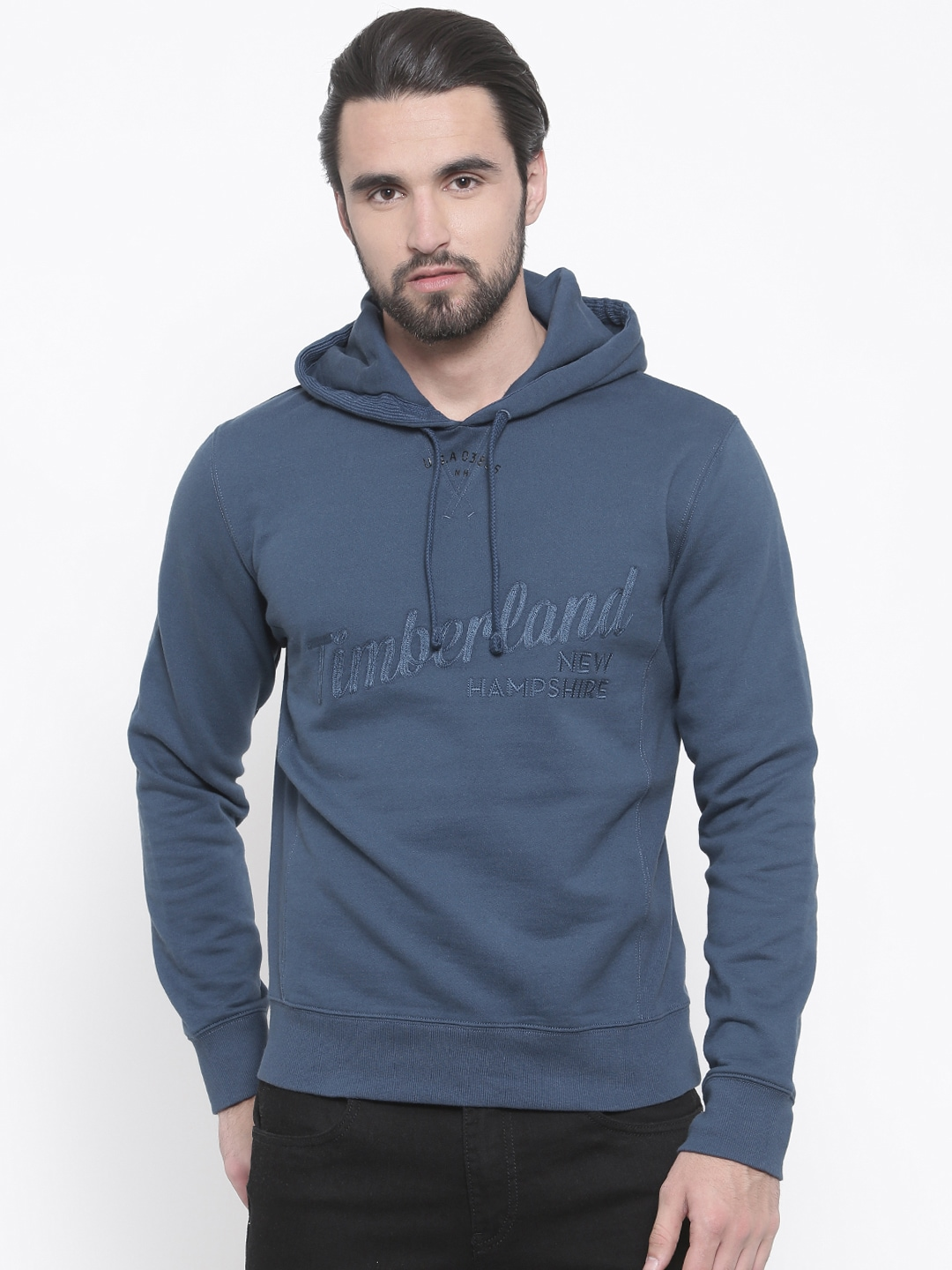 Buy Timberland Blue Solid Hooded Men's Sweatshirt At Best Price
