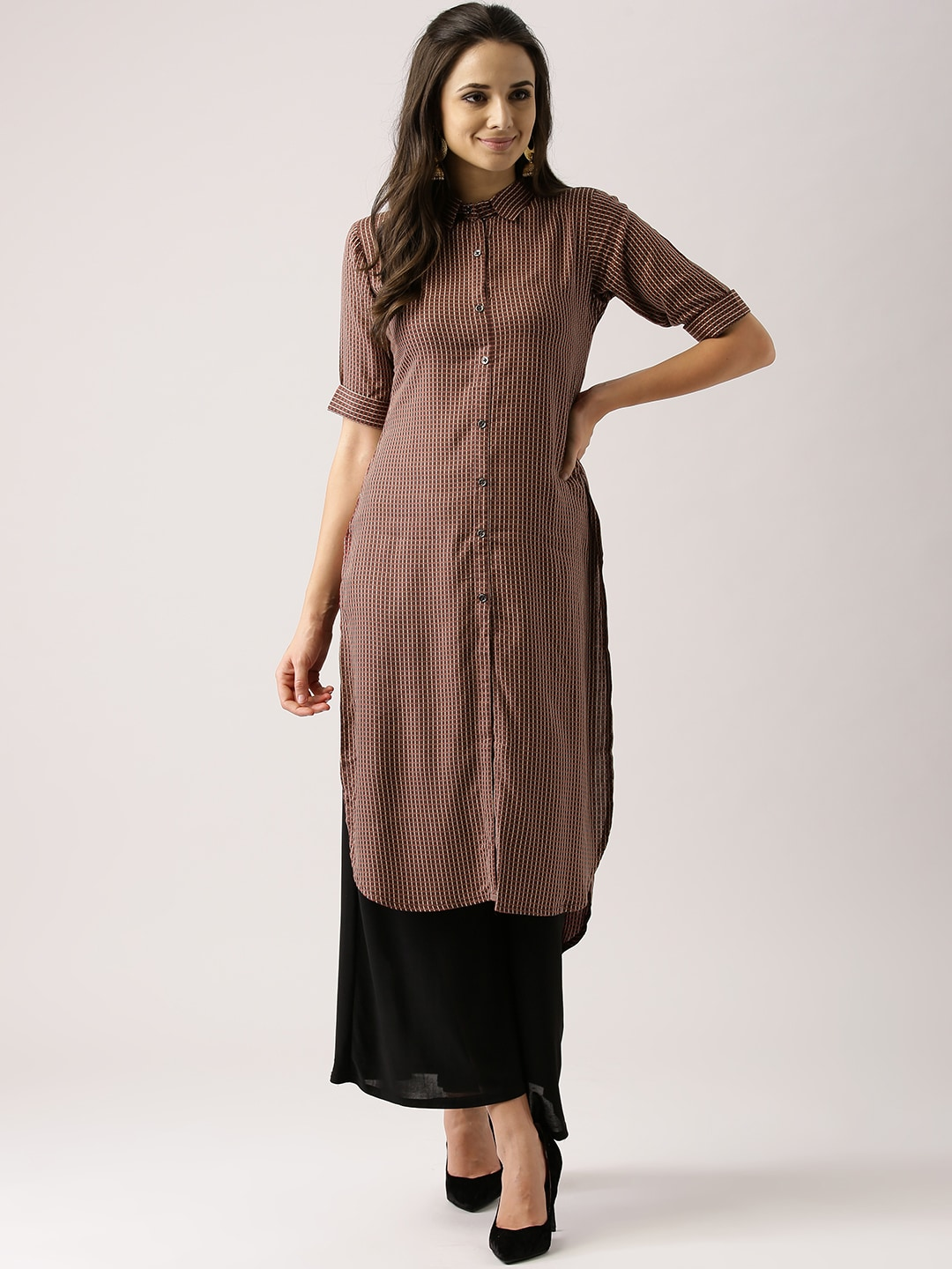 Try Libas Women Brown & Rust Red Checked Pathani Kurta