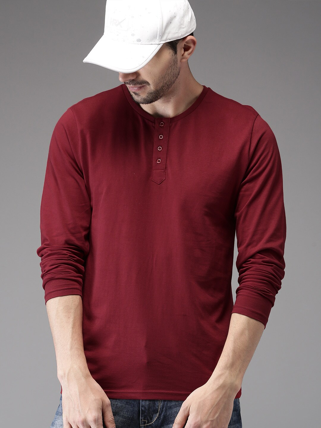 Buy HERE&NOW Maroon Solid Henley Men's T-shirt At Best Price