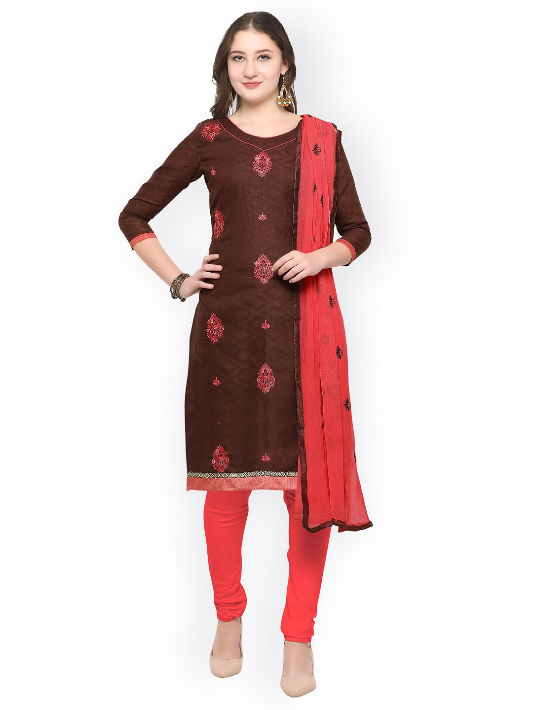 Rajnandini Brown & Red Cotton Blend Unstitched Dress Material image