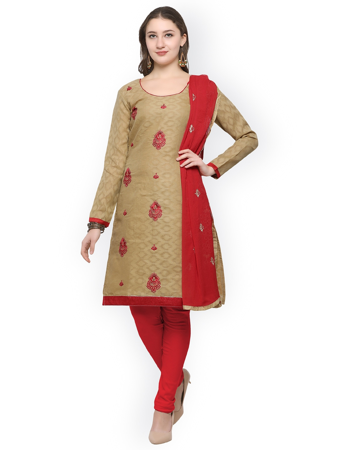 Rajnandini Beige & Red Cotton Blend Unstitched Dress Material image