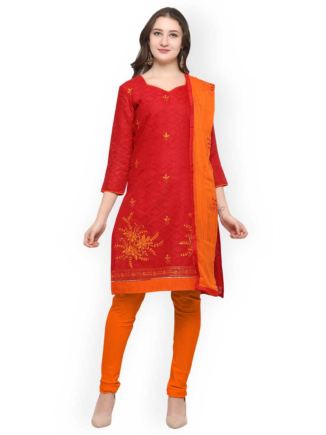 Rajnandini Red & Orange Cotton Blend Unstitched Dress Material image