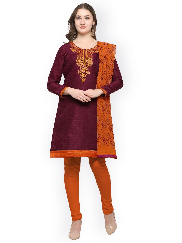 Rajnandini Purple & Orange Cotton Blend Unstitched Dress Material image