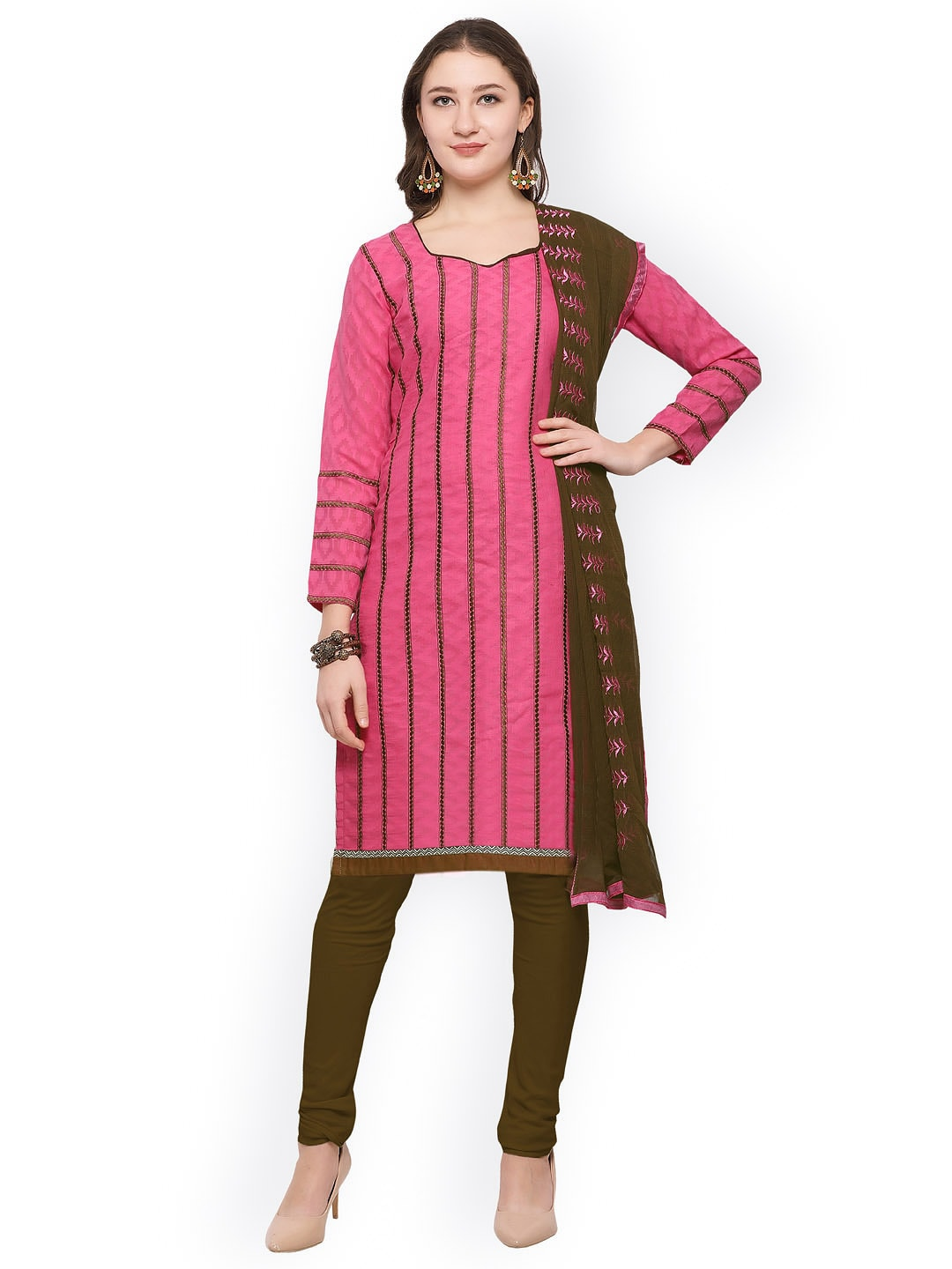 Rajnandini Pink & Olive Green Cotton Blend Unstitched Dress Material image
