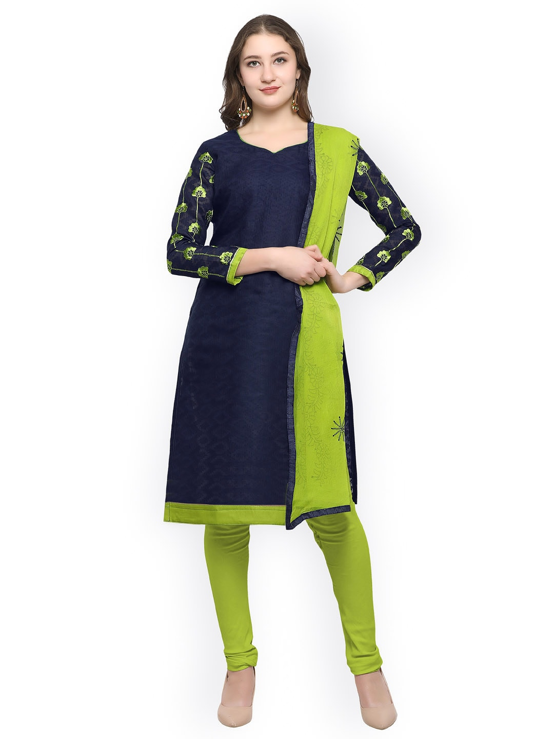 Rajnandini Navy Blue & Lime Green Cotton Blend Unstitched Dress Material image