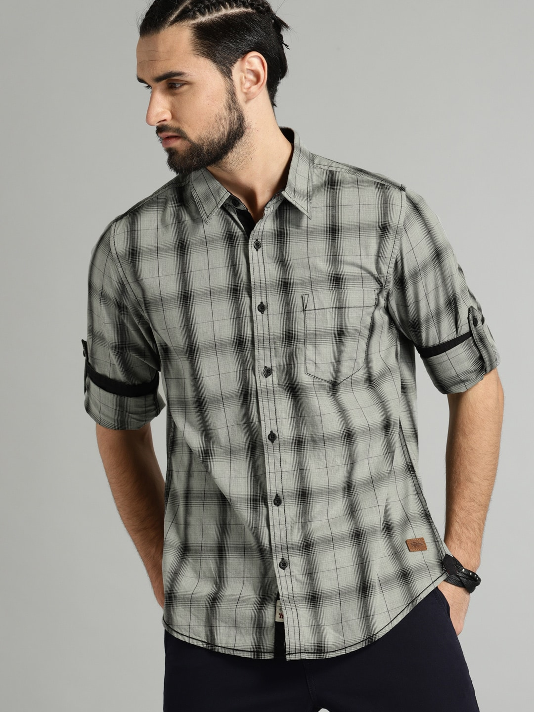 Buy Roadster Grey & Black Regular Fit Checked Men's Casual Shirt At Best Price