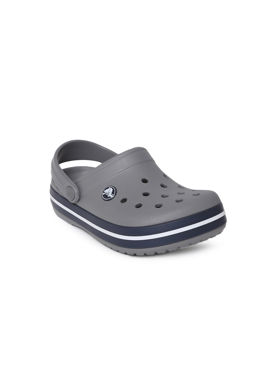 Crocs Unisex Grey Solid Crocband Clogs image
