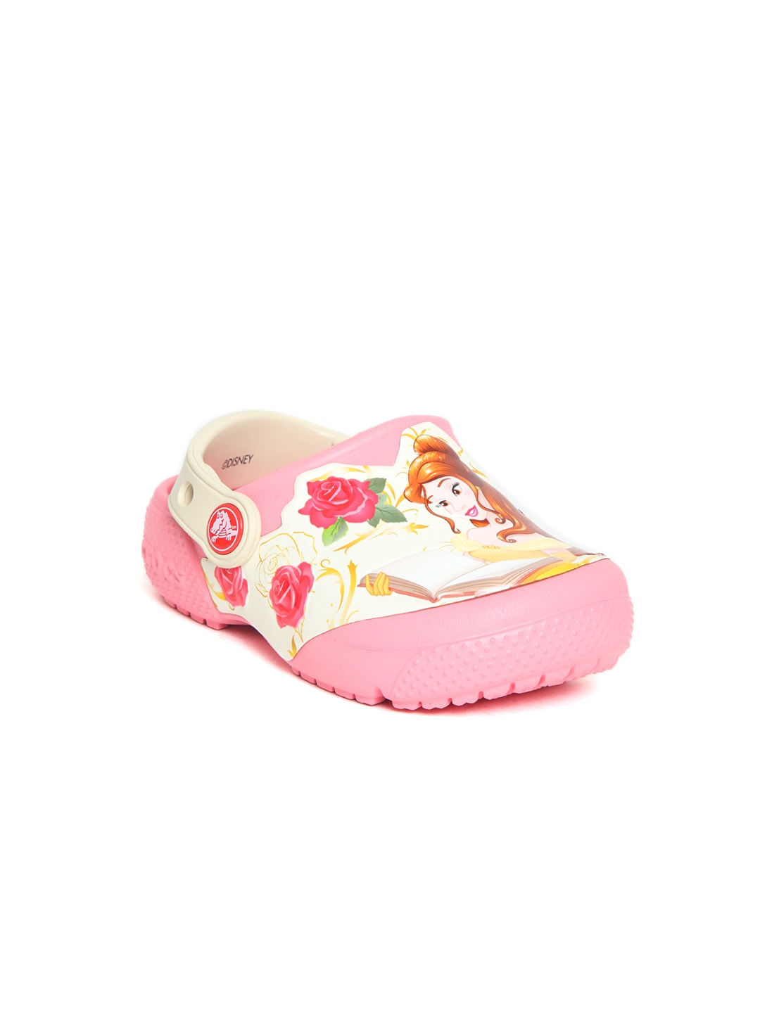 Crocs Kids Pink & White Princess Belle Print Clogs image