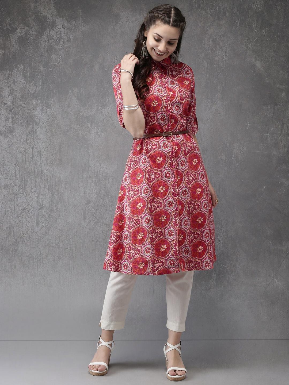 Anouk Women Pink Printed A-Line Kurta image