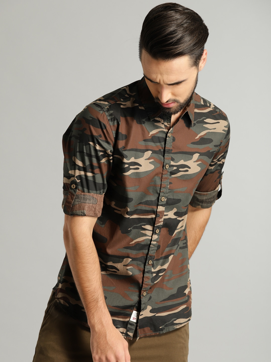 Buy Roadster Olive Green & Beige Printed Men's Casual Shirt At Best Price