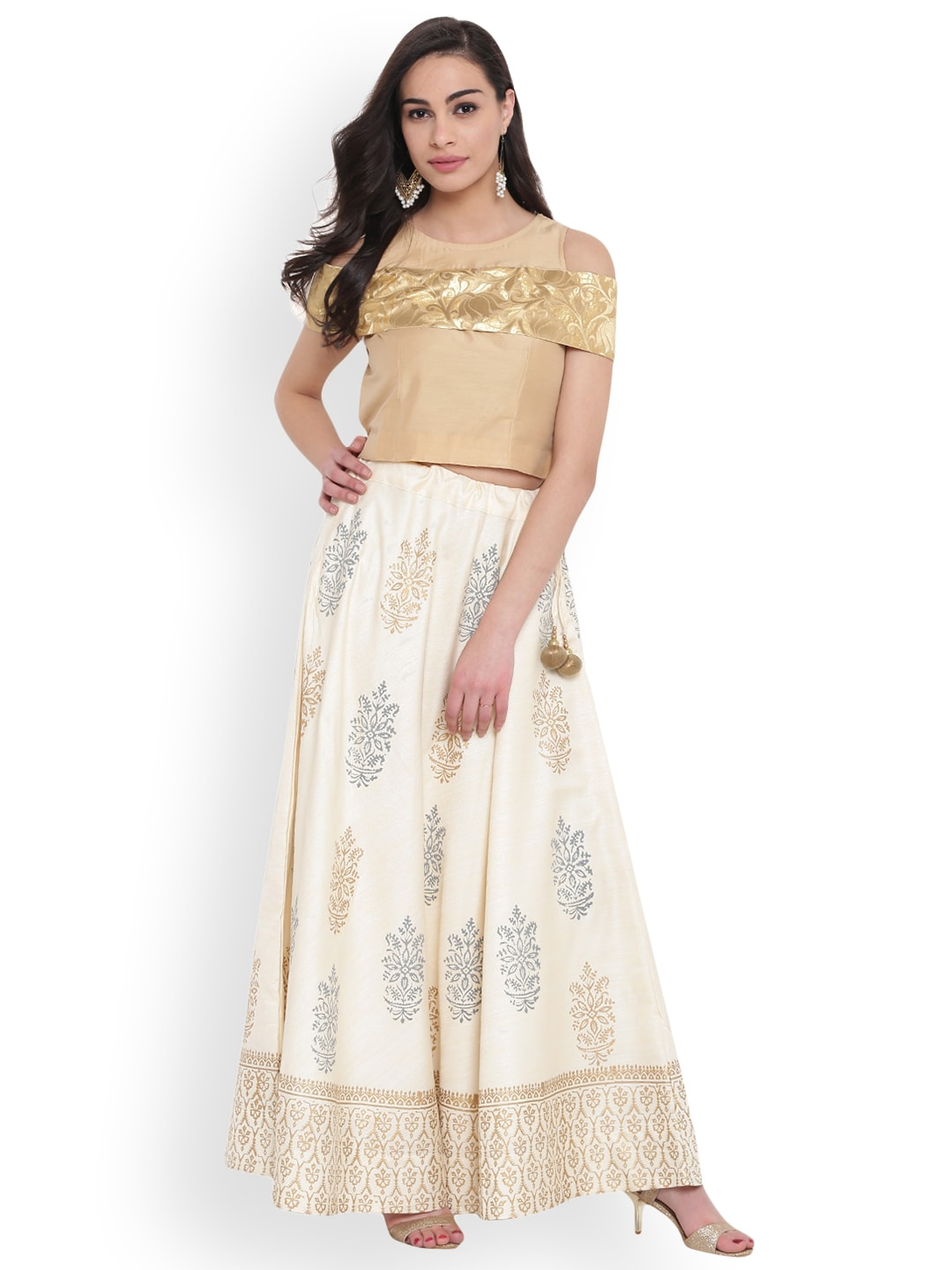 studio rasa Beige Ready to Wear Hand Block Print Lehenga with Blouse image