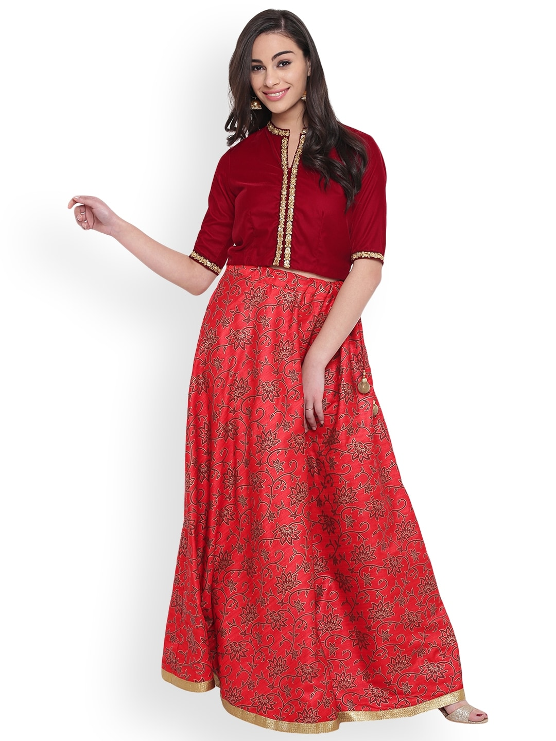 studio rasa Red Ready to Wear Hand Block Print Lehenga with Blouse image