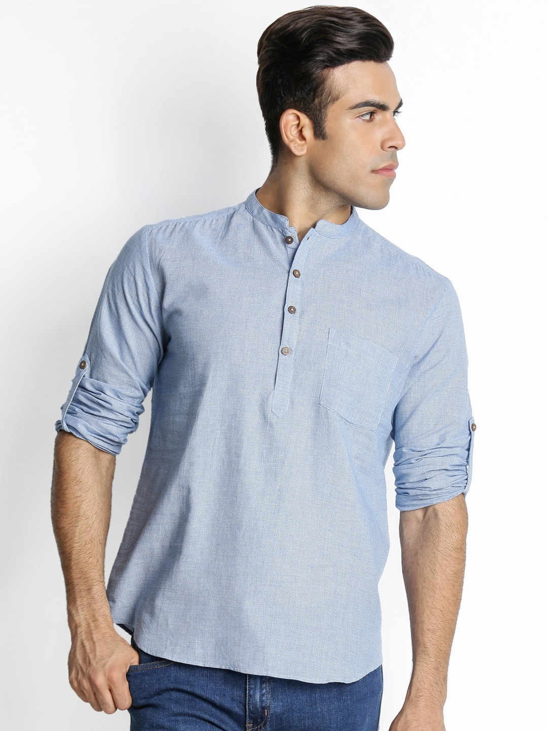 indus route by Pantaloons Men Blue & White Checked Straight Short Kurta