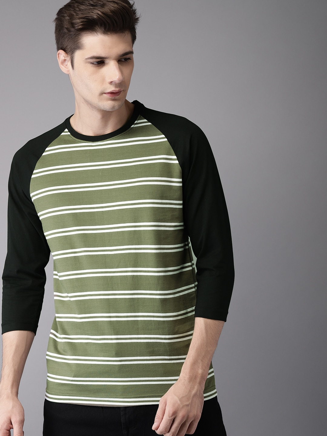 Buy HERE&NOW Olive Green Striped Round Neck Men's T-shirt At Best Price