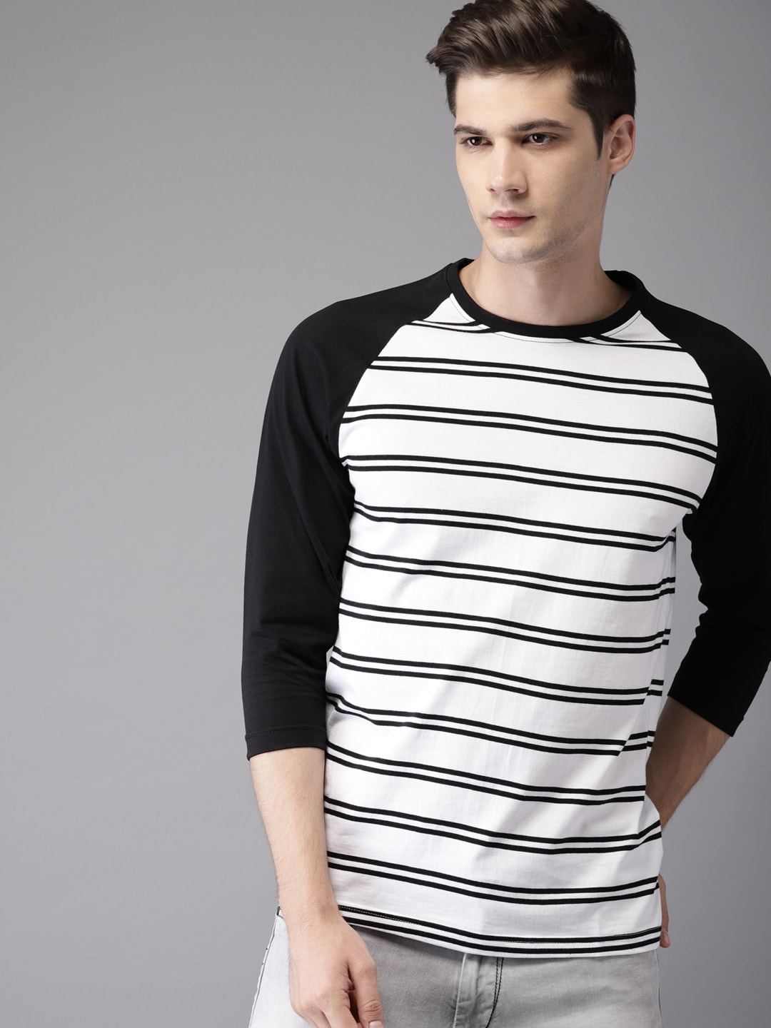 Buy HERE&NOW White Striped Round Neck Men's T-shirt At Best Price