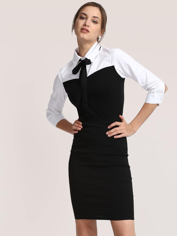 StalkBuyLove Women Black & White Colourblocked Shirt Dress image