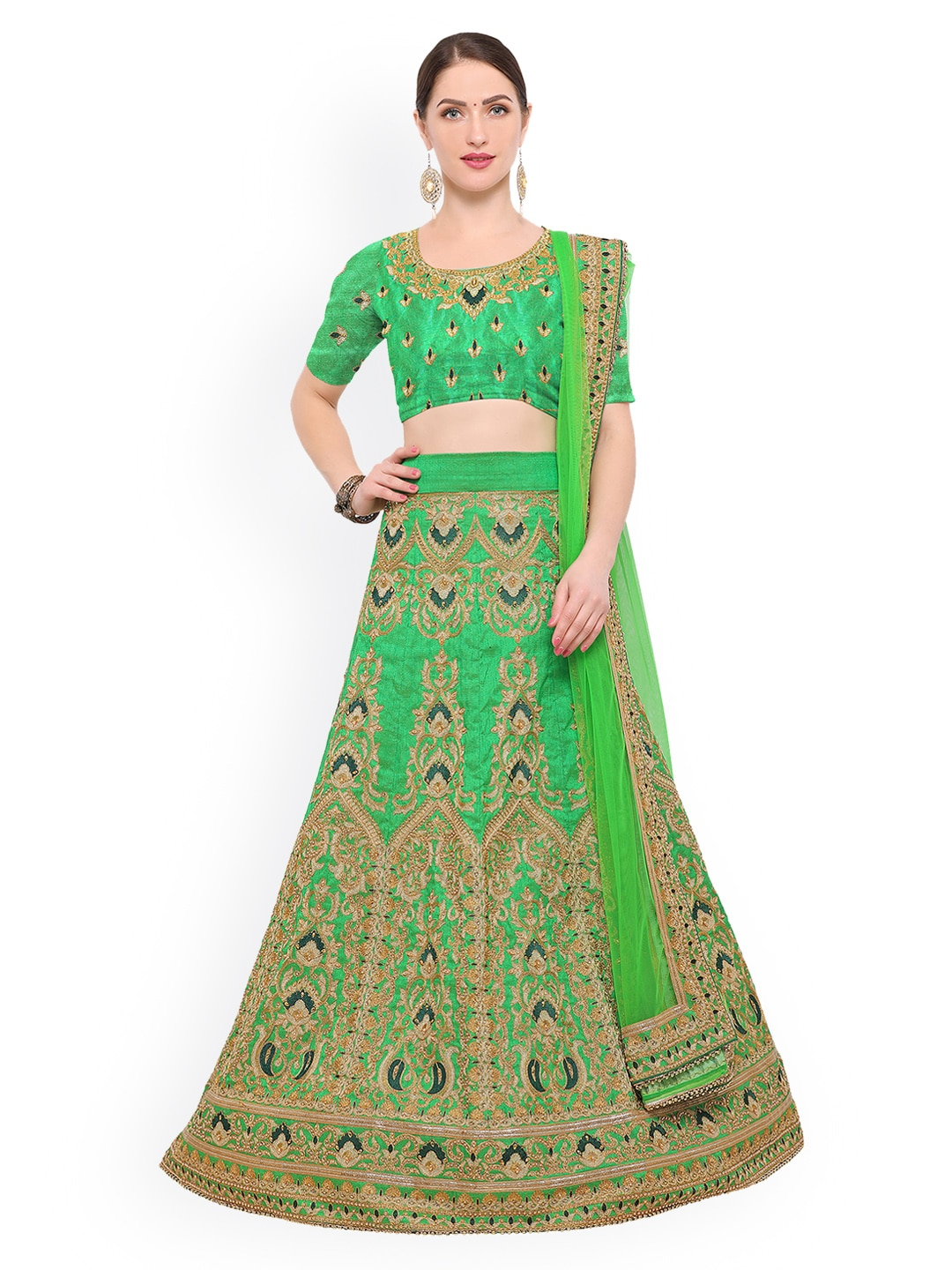 Styles Closet Green Semi-Stitched Lehenga & Blouse with Dupatta image