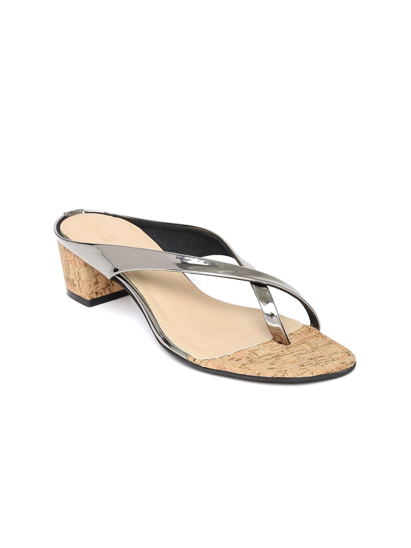 Inc 5 Women Gunmetal-Toned Solid Sandals image