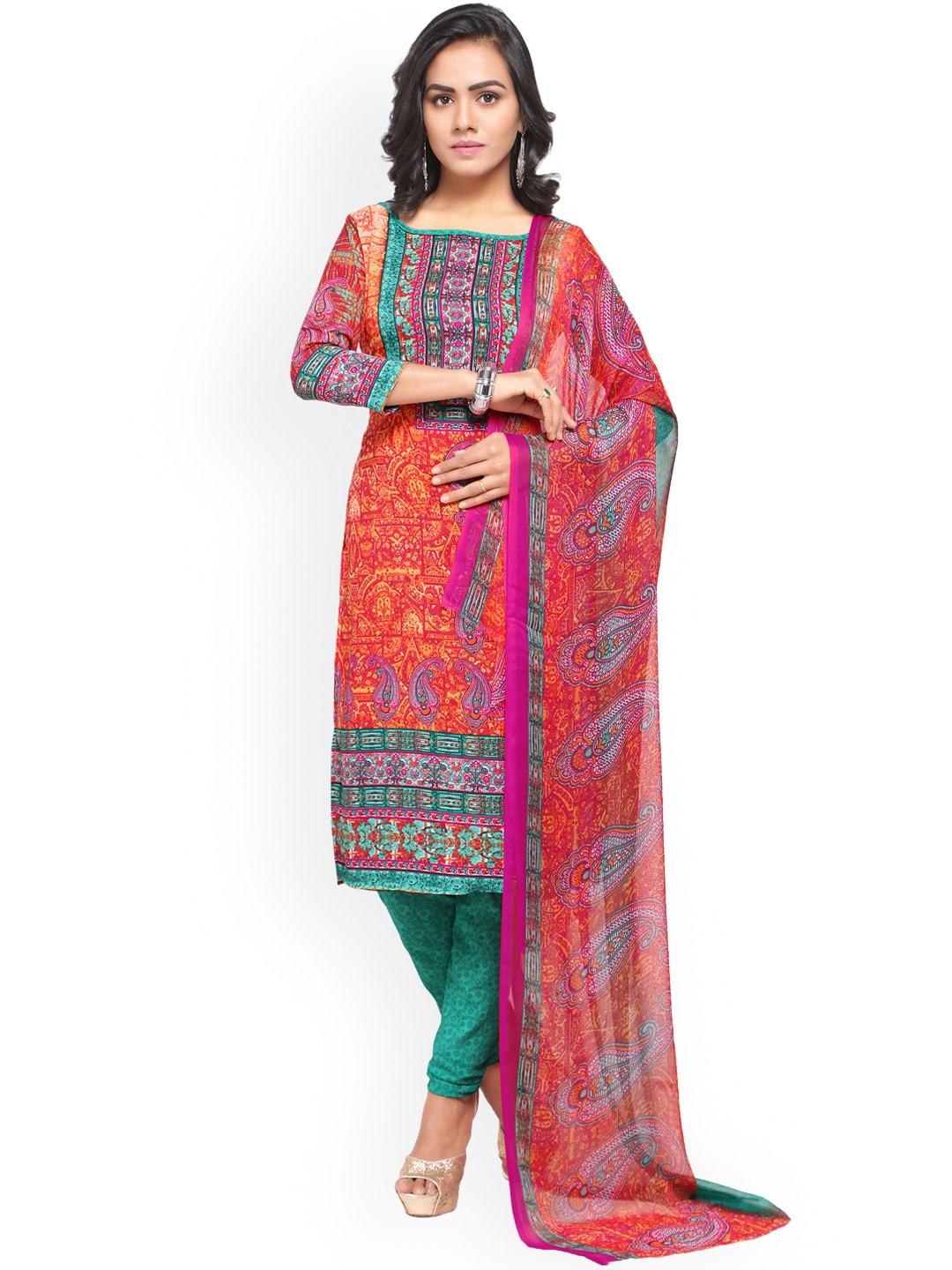 Satrani Multicoloured Poly Crepe Unstitched Dress Material image