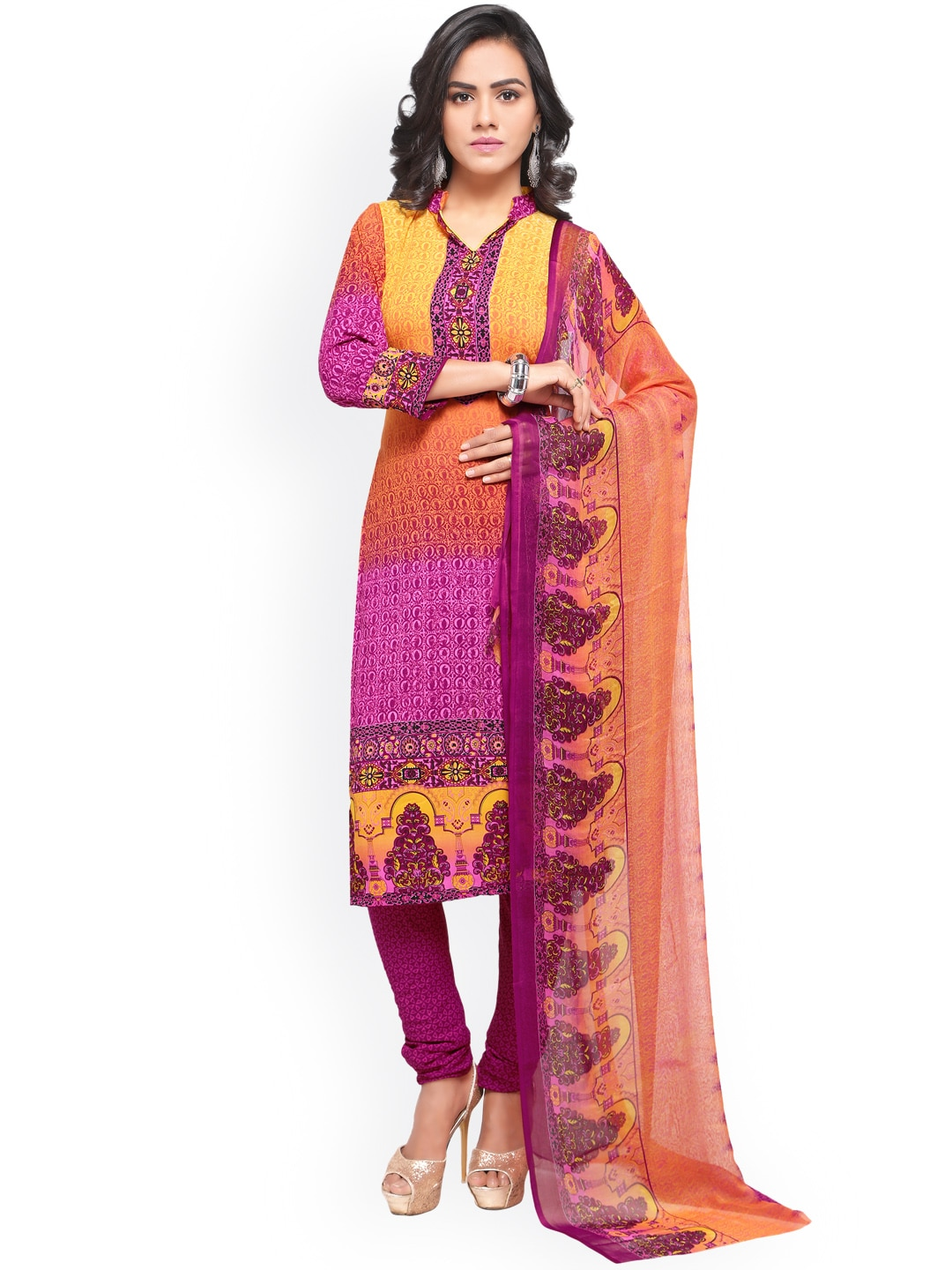Satrani Pink & Yellow Poly Crepe Unstitched Dress Material image