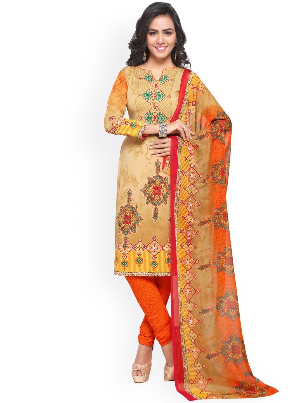 Satrani Beige & Orange Poly Crepe Unstitched Dress Material image
