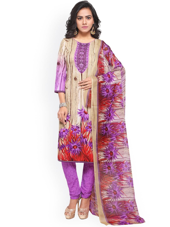 Satrani Beige & Purple Poly Crepe Unstitched Dress Material image