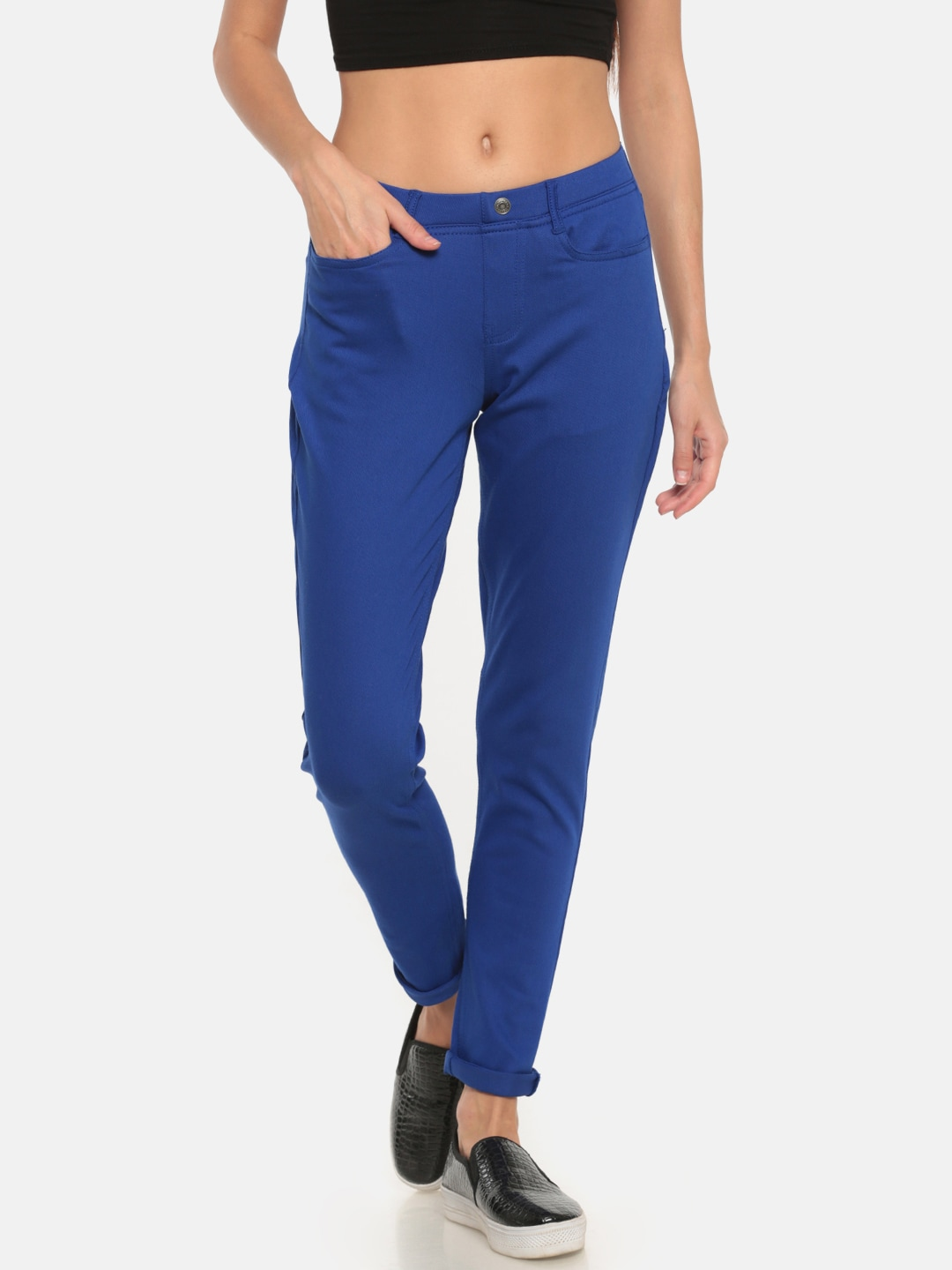 Go Colors Blue Solid Super Stretch Ankle-Length Jeggings image