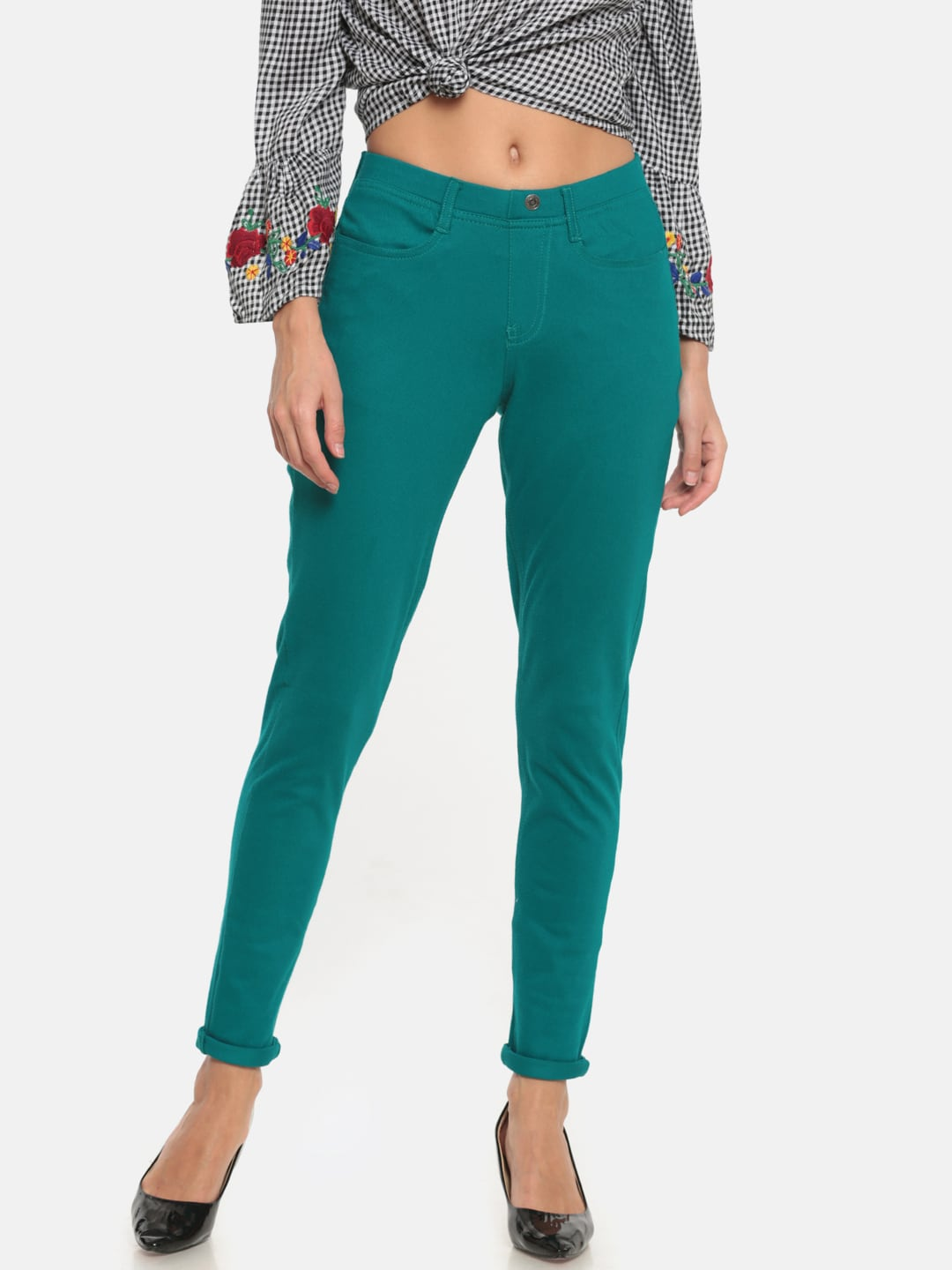 Go Colors Teal Blue Solid Super Stretch Ankle-Length Jeggings image